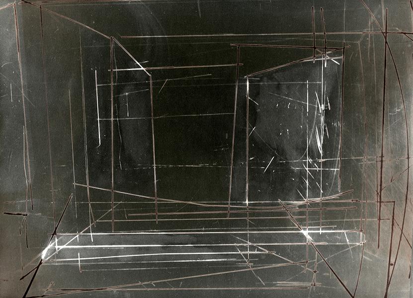cliché verre sur plexiglass 24x30 par contact et intervention chimie