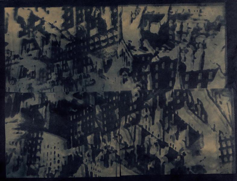 cyanotype sur papier, montage de 4 images 48x60